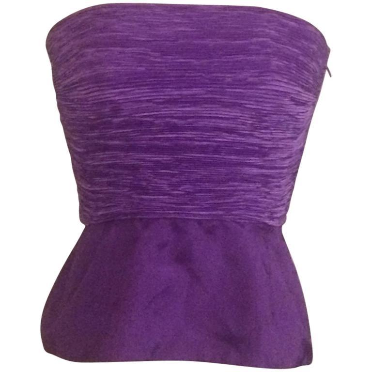 Mary McFadden Saks Fifth Avenue Early 1990s Purple Peplum Strapless Pleated Top