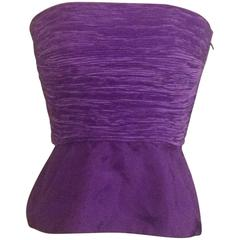 Mary McFadden Saks Fifth Avenue Early 1990s Purple Peplum Strapless Pleated Top