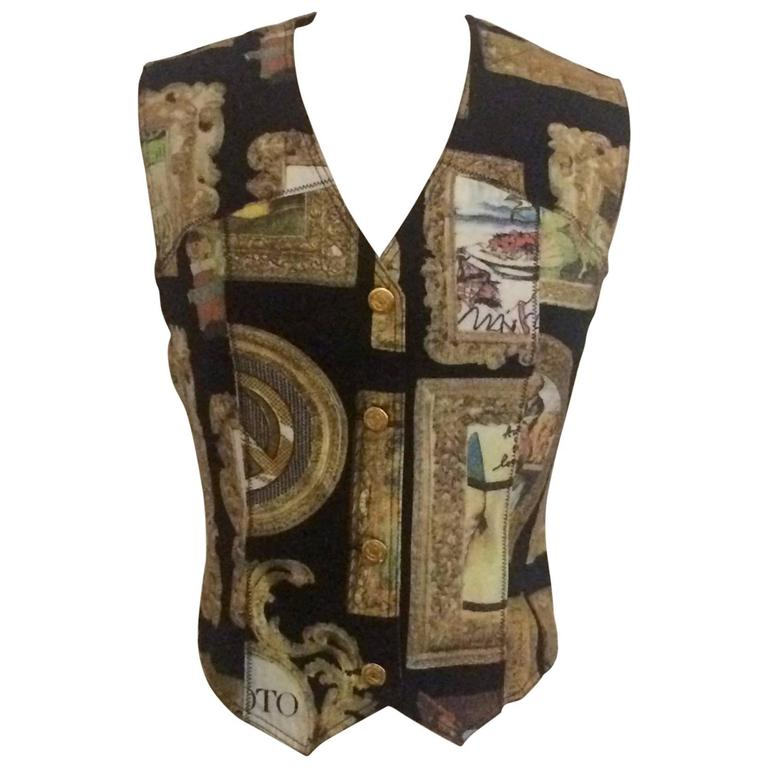 Moschino Jeans 1990s Black Gold Framed Masterpieces Art Vest
