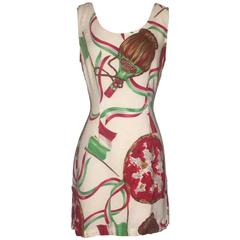 Moschino Jeans 1980s Linen Blend Pizza Chianti and Italy Shift Dress