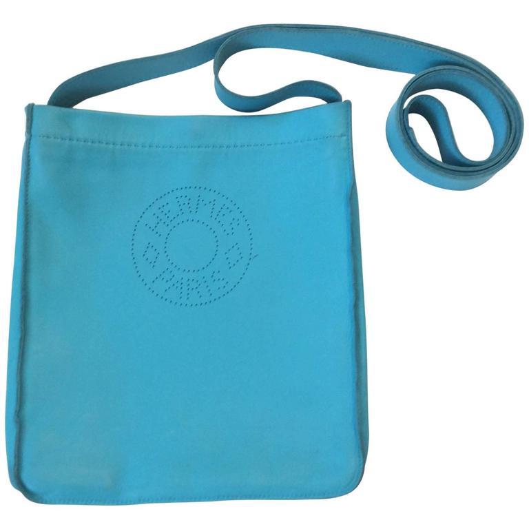 Hermes Crossbody Purse - Blue Leather