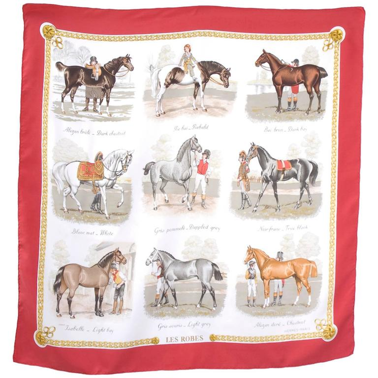 """Vintage Hermes Silk Carre Scarf Horse Print """"Les Robes"""" by ..."""