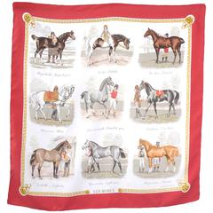 """Hermes Silk Carre Scarf Horse Print """"Les Robes"""" by Ledoux"""