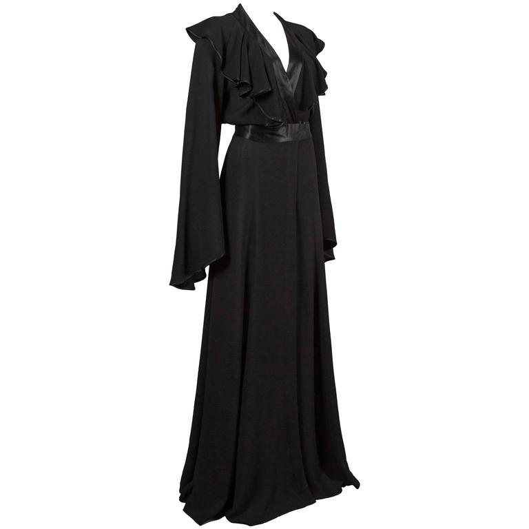 Ossie Clark couture black moss crêpe wrap around evening dress, c. 1970