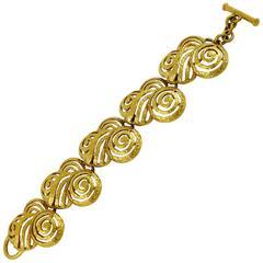 Lanvin Vintage Gold Tone Art Deco Style Bracelet