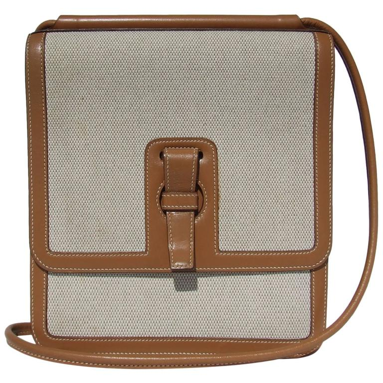 bc00d2e69dbe Hermes Toile and Leather Cross Body Bag Canvas RARE at 1stdibs