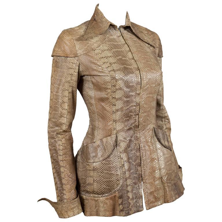 Ossie Clark snakeskin jacket, c. 1967 For Sale