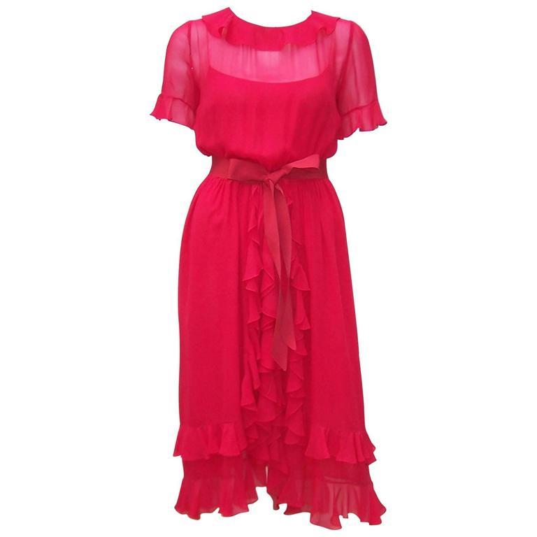 1970's Bill Blass Lipstick Red Chiffon Cocktail Dress