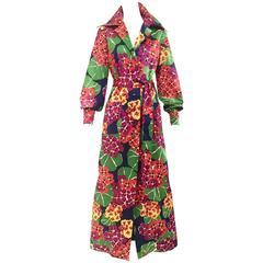 70s Geoffrey Beene floral print silk shirt maxi dress