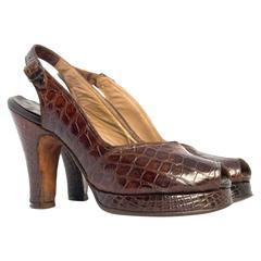 40s Brown Alligator Peep-toe Platforms