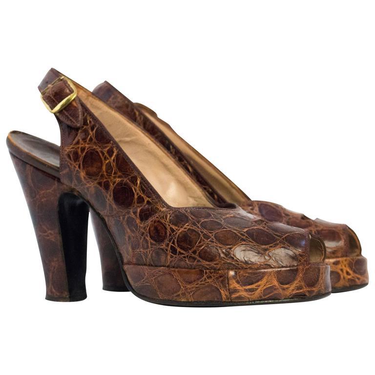 40s Brown Peep Toe Slingback Platforms size 6
