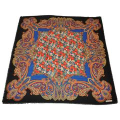 Franco Laurenti Huge Multi-Color Palsey Wool Blend with Fringed Scarf