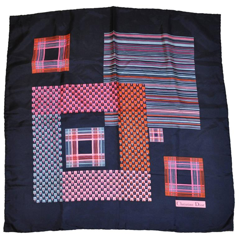 "Christian Dior Navy with Multi-Color ""Blocks & Stripes"" Silk Scarf"
