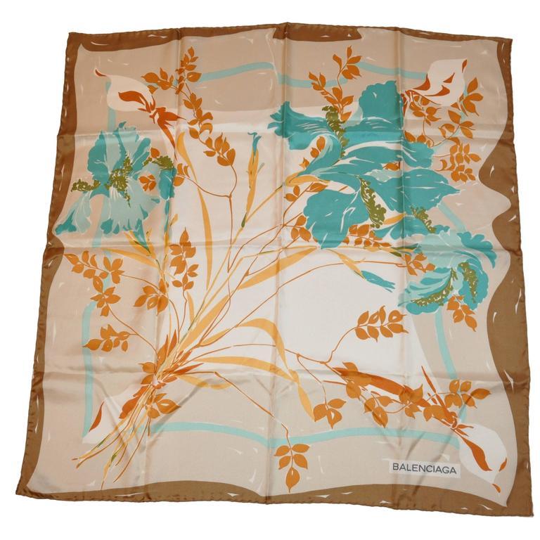 Balenciaga Multi-Color Floral Silk Scarf