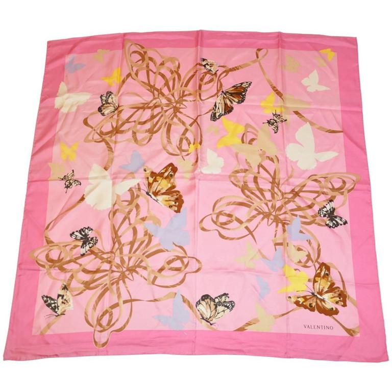 """Valentino Bold Multi-Color """"Butterflies"""" Silk Scarf For Sale"""