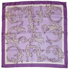 "Gucci ""Shades of Purple"" Palsey ""Logo"" Silk Scarf"