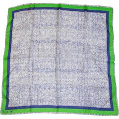 Vera Navy Green & White Silk Scarf