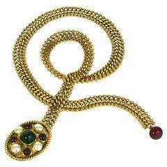 Chanel Gilt Bronze and Pate de Verre Belt