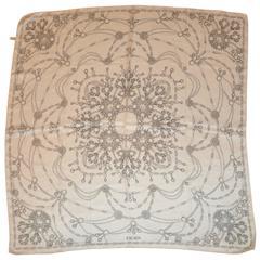 "Escada Ivory & Gray ""Multiple Jewels"" Silk Scarf"