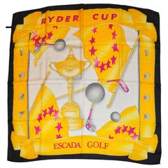 "Escada Bold Large Multi-Color ""Golf"" Silk Scarf"