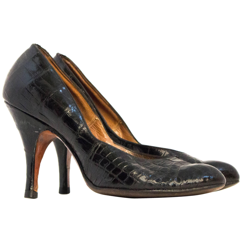 39ca4a945076a 50s Black Alligator High Heels