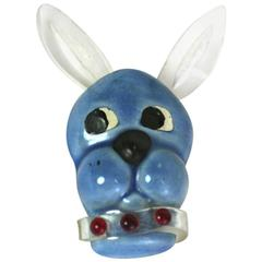 1940's Elzac Pottery and Lucite Dog Brooch