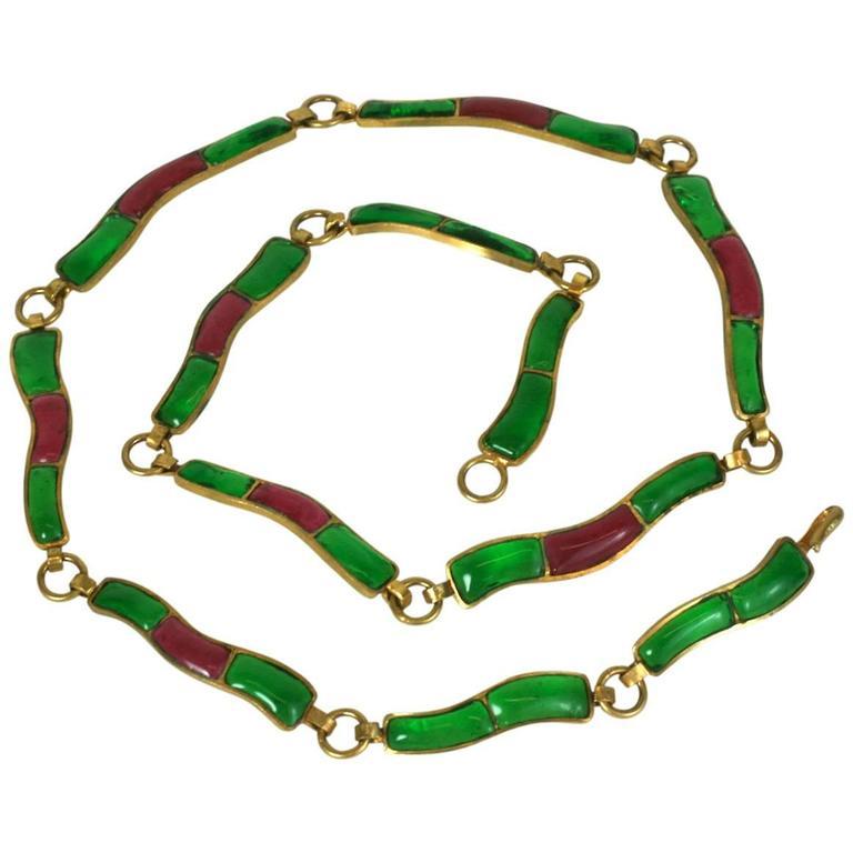 CoCo Chanel Pate De Verre Poured  Byzantine Glass Belt, Workshop Maison Gripoix 1