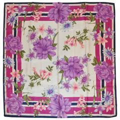 Bold Multi-Color Floral Silk Scarf