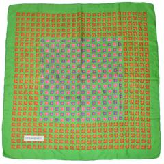 Yves Saint Laurent Bold Multi-Color Floral Silk Scarf