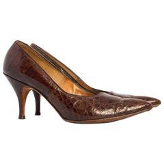 1960s Chocolate Brown Pointed Toe Alligator Heels
