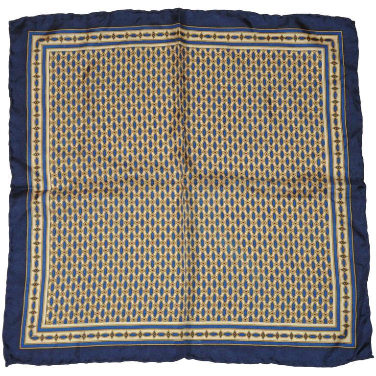 Navy & Beige Men's Silk Handkerchief
