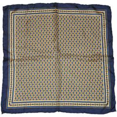 Navy & Beige Men's Silk Handkerchief