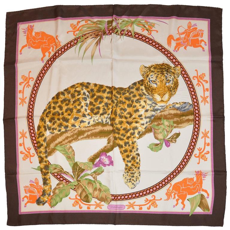 "Ferragamo Iconic ""Leopard"" Silk Scarf with Original Box"