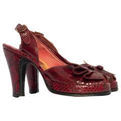 40s Red Snakeskin Peep-toe Slingback Platforms
