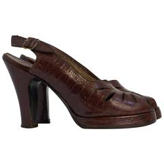 40s Sienna Brown Peep Toe Platforms with Cutouts Size 6