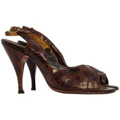50s Brown Alligator Peptone Slingback Heels