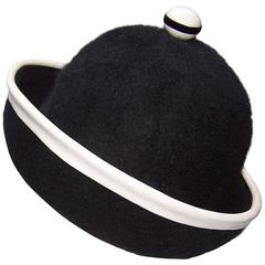 C.1960 Henry Pollak Mod Black Mohair Hat With White Leather Trim