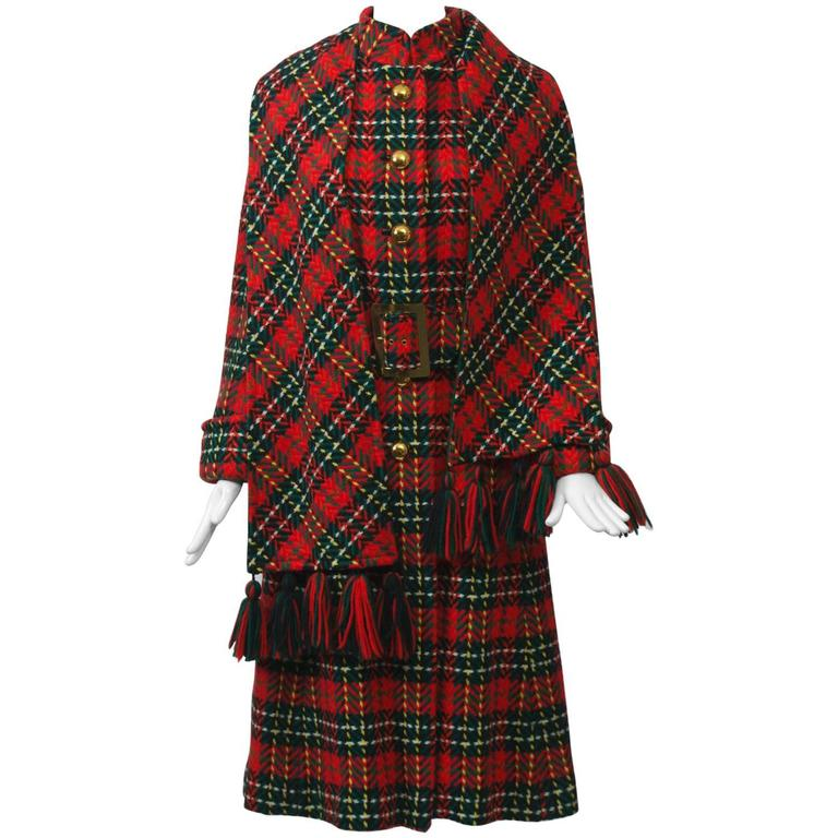 Red Plaid Coat with Scarf