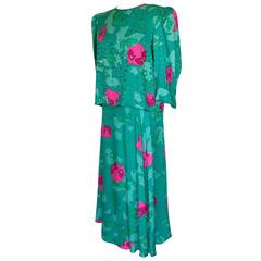 Flora Kung 2pc Emerald + Pink Silk Floral Blouse + Skirt Ensemble Size 8 1980s
