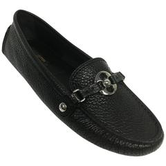 LOUIS VUITTON Black Leather Rumor Flat Loafers 36.5 New