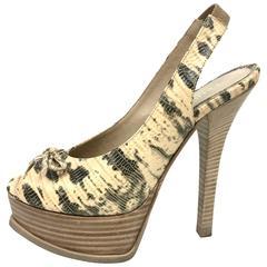 FENDI Fendista Natural Platform Slingback Pump Open-Toe Shoes 35