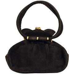 40s Black Suede Petite Handbag