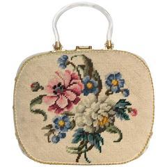 60s Floral Needle Point Lucite Handbag