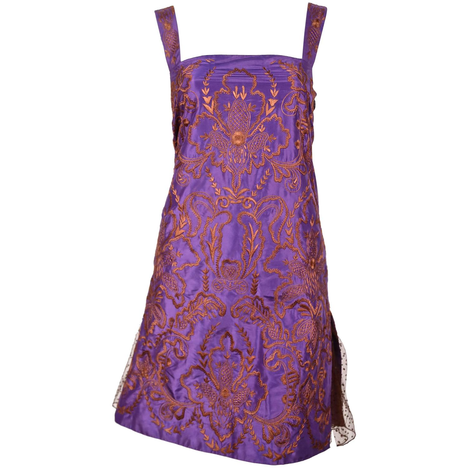 Valentino hand embroidered silk dress with tulle for sale