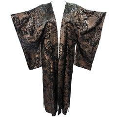 MALI Silk and Velvet Kimono Style Coat with Tassels Size Medium