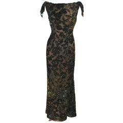 Green Metallic Silk Velvet Draped Gown Size 6 8