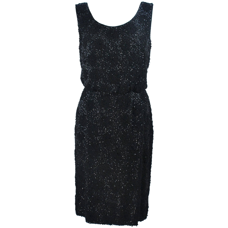 1960's Black Silk Chiffon Beaded Cocktail Dress Size 4