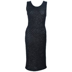 1960's Embellished Black Wool Knit Cocktail Dress with Diamond Pattern Size 6