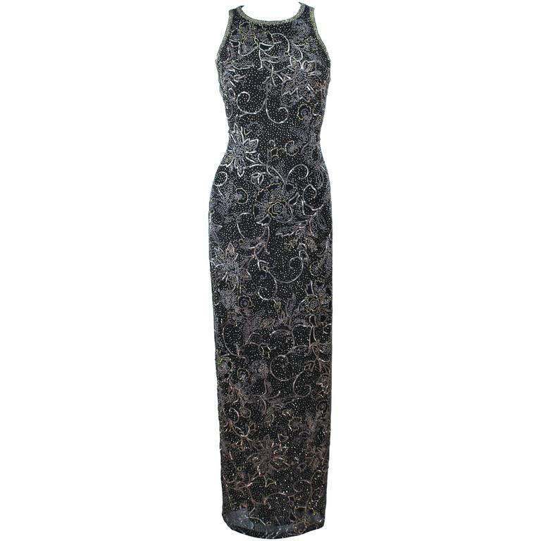 OLEG CASSINI Black and Gold Beaded Gown Size 8