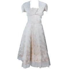 ELIZABETH MASON COUTURE Ivory Silk Cocktail Dress and Bolero Sample Size 2